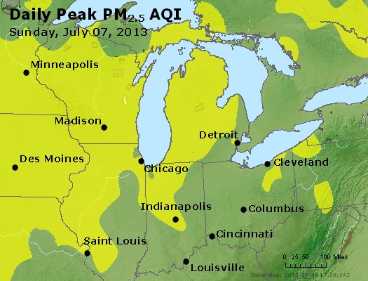Peak Particles PM<sub>2.5</sub> (24-hour) - http://files.airnowtech.org/airnow/2013/20130707/peak_pm25_mi_in_oh.jpg