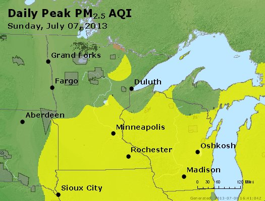 Peak Particles PM<sub>2.5</sub> (24-hour) - http://files.airnowtech.org/airnow/2013/20130707/peak_pm25_mn_wi.jpg