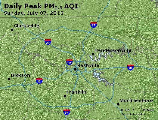 Peak Particles PM<sub>2.5</sub> (24-hour) - http://files.airnowtech.org/airnow/2013/20130707/peak_pm25_nashville_tn.jpg