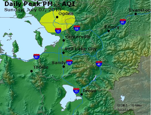 Peak Particles PM<sub>2.5</sub> (24-hour) - http://files.airnowtech.org/airnow/2013/20130707/peak_pm25_saltlakecity_ut.jpg