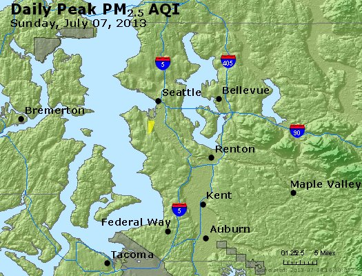 Peak Particles PM<sub>2.5</sub> (24-hour) - http://files.airnowtech.org/airnow/2013/20130707/peak_pm25_seattle_wa.jpg