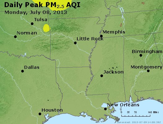 Peak Particles PM<sub>2.5</sub> (24-hour) - http://files.airnowtech.org/airnow/2013/20130708/peak_pm25_ar_la_ms.jpg