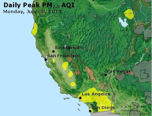 Peak Particles PM<sub>2.5</sub> (24-hour) - http://files.airnowtech.org/airnow/2013/20130708/peak_pm25_ca_nv.jpg