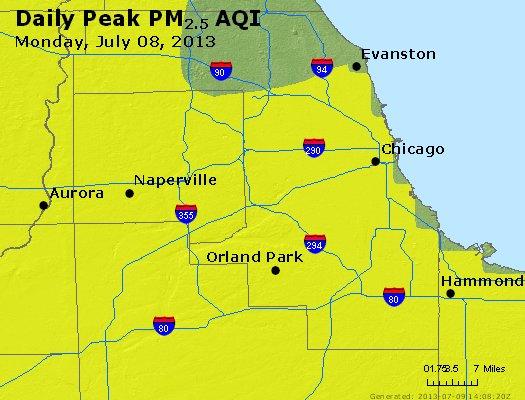 Peak Particles PM<sub>2.5</sub> (24-hour) - http://files.airnowtech.org/airnow/2013/20130708/peak_pm25_chicago_il.jpg
