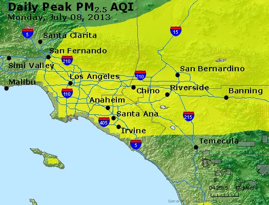 Peak Particles PM<sub>2.5</sub> (24-hour) - http://files.airnowtech.org/airnow/2013/20130708/peak_pm25_losangeles_ca.jpg