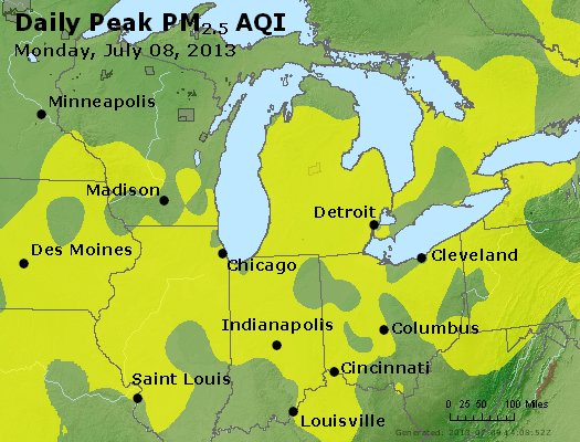 Peak Particles PM<sub>2.5</sub> (24-hour) - http://files.airnowtech.org/airnow/2013/20130708/peak_pm25_mi_in_oh.jpg