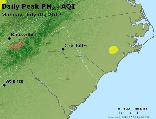 Peak Particles PM<sub>2.5</sub> (24-hour) - http://files.airnowtech.org/airnow/2013/20130708/peak_pm25_nc_sc.jpg