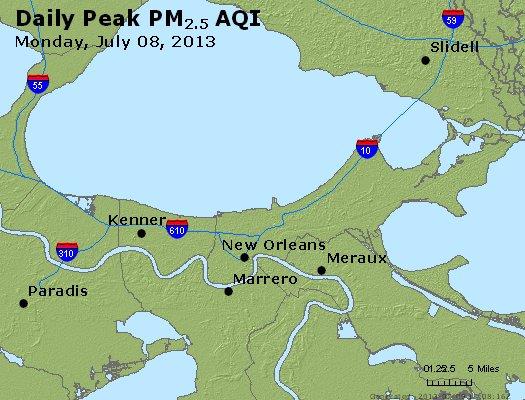Peak Particles PM<sub>2.5</sub> (24-hour) - http://files.airnowtech.org/airnow/2013/20130708/peak_pm25_neworleans_la.jpg