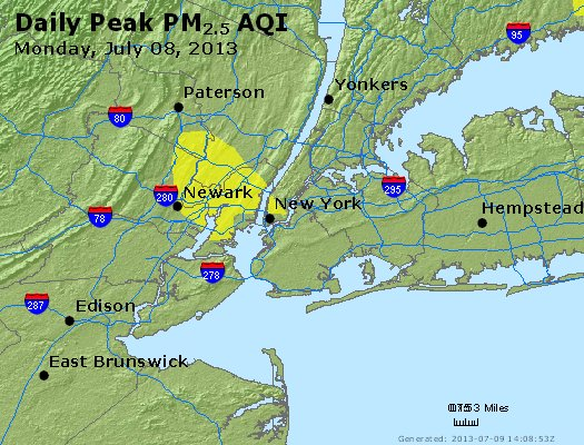 Peak Particles PM<sub>2.5</sub> (24-hour) - http://files.airnowtech.org/airnow/2013/20130708/peak_pm25_newyork_ny.jpg