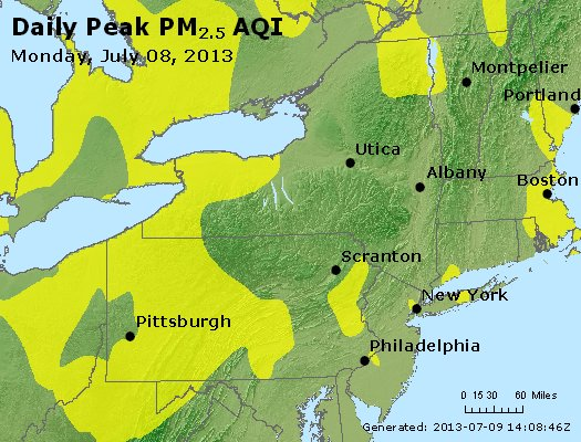 Peak Particles PM<sub>2.5</sub> (24-hour) - http://files.airnowtech.org/airnow/2013/20130708/peak_pm25_ny_pa_nj.jpg