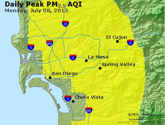 Peak Particles PM<sub>2.5</sub> (24-hour) - http://files.airnowtech.org/airnow/2013/20130708/peak_pm25_sandiego_ca.jpg