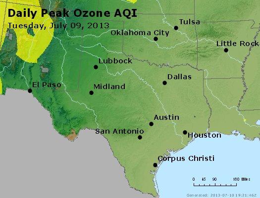 Peak Ozone (8-hour) - http://files.airnowtech.org/airnow/2013/20130709/peak_o3_tx_ok.jpg