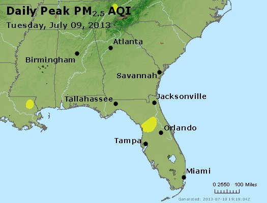 Peak Particles PM<sub>2.5</sub> (24-hour) - http://files.airnowtech.org/airnow/2013/20130709/peak_pm25_al_ga_fl.jpg