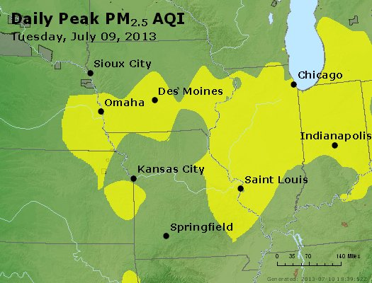 Peak Particles PM<sub>2.5</sub> (24-hour) - http://files.airnowtech.org/airnow/2013/20130709/peak_pm25_ia_il_mo.jpg