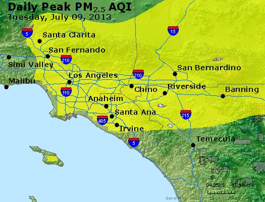 Peak Particles PM<sub>2.5</sub> (24-hour) - http://files.airnowtech.org/airnow/2013/20130709/peak_pm25_losangeles_ca.jpg