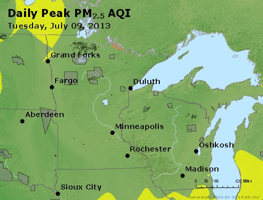 Peak Particles PM<sub>2.5</sub> (24-hour) - http://files.airnowtech.org/airnow/2013/20130709/peak_pm25_mn_wi.jpg