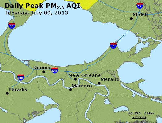 Peak Particles PM<sub>2.5</sub> (24-hour) - http://files.airnowtech.org/airnow/2013/20130709/peak_pm25_neworleans_la.jpg