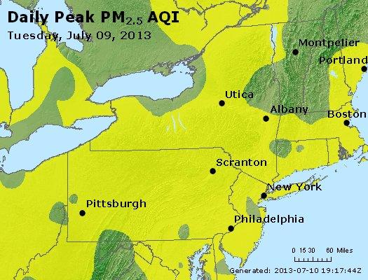 Peak Particles PM<sub>2.5</sub> (24-hour) - http://files.airnowtech.org/airnow/2013/20130709/peak_pm25_ny_pa_nj.jpg