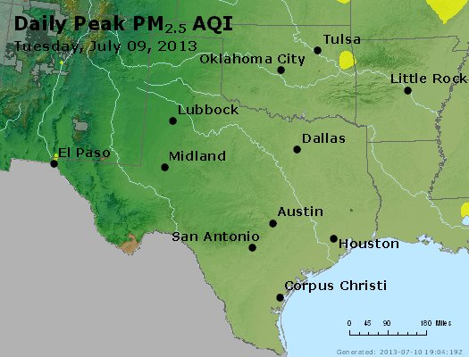 Peak Particles PM<sub>2.5</sub> (24-hour) - http://files.airnowtech.org/airnow/2013/20130709/peak_pm25_tx_ok.jpg