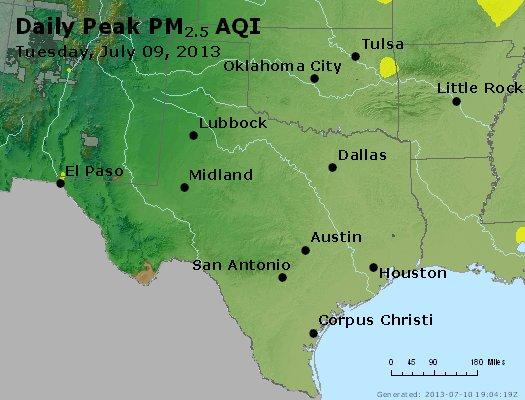 Peak Particles PM<sub>2.5</sub> (24-hour) - http://files.airnowtech.org/airnow/2013/20130709/peak_pm25_tx_ok.jpg
