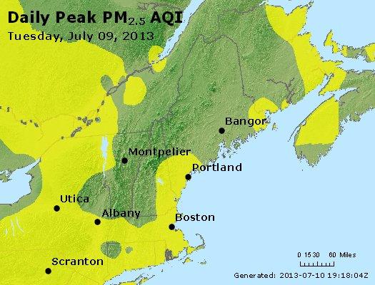 Peak Particles PM<sub>2.5</sub> (24-hour) - http://files.airnowtech.org/airnow/2013/20130709/peak_pm25_vt_nh_ma_ct_ri_me.jpg
