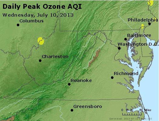 Peak Ozone (8-hour) - http://files.airnowtech.org/airnow/2013/20130710/peak_o3_va_wv_md_de_dc.jpg