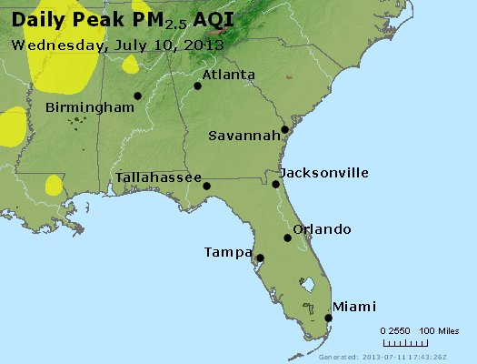 Peak Particles PM<sub>2.5</sub> (24-hour) - http://files.airnowtech.org/airnow/2013/20130710/peak_pm25_al_ga_fl.jpg