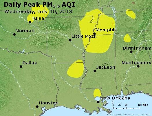 Peak Particles PM<sub>2.5</sub> (24-hour) - http://files.airnowtech.org/airnow/2013/20130710/peak_pm25_ar_la_ms.jpg