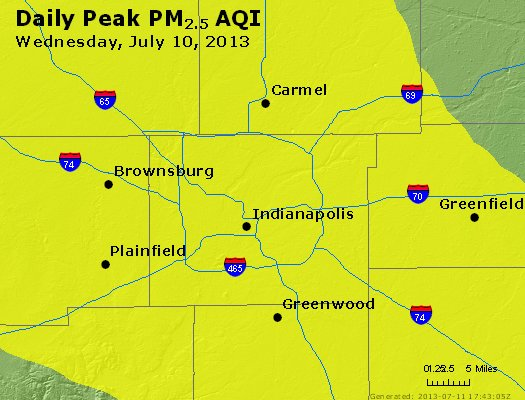 Peak Particles PM<sub>2.5</sub> (24-hour) - http://files.airnowtech.org/airnow/2013/20130710/peak_pm25_indianapolis_in.jpg
