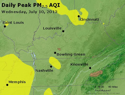 Peak Particles PM<sub>2.5</sub> (24-hour) - http://files.airnowtech.org/airnow/2013/20130710/peak_pm25_ky_tn.jpg