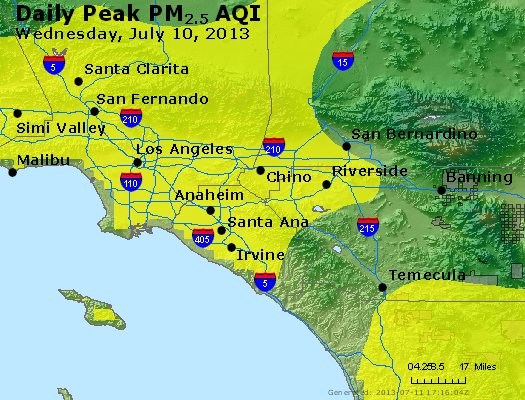 Peak Particles PM<sub>2.5</sub> (24-hour) - http://files.airnowtech.org/airnow/2013/20130710/peak_pm25_losangeles_ca.jpg