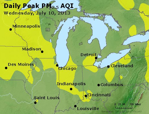 Peak Particles PM<sub>2.5</sub> (24-hour) - http://files.airnowtech.org/airnow/2013/20130710/peak_pm25_mi_in_oh.jpg