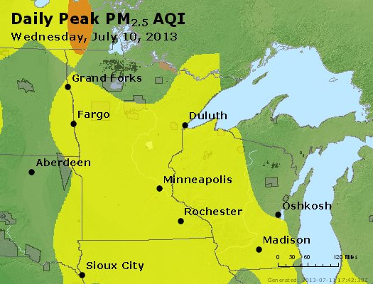 Peak Particles PM<sub>2.5</sub> (24-hour) - http://files.airnowtech.org/airnow/2013/20130710/peak_pm25_mn_wi.jpg