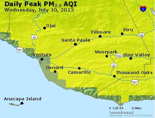 Peak Particles PM<sub>2.5</sub> (24-hour) - http://files.airnowtech.org/airnow/2013/20130710/peak_pm25_ventura.jpg
