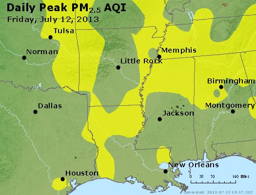 Peak Particles PM<sub>2.5</sub> (24-hour) - http://files.airnowtech.org/airnow/2013/20130712/peak_pm25_ar_la_ms.jpg