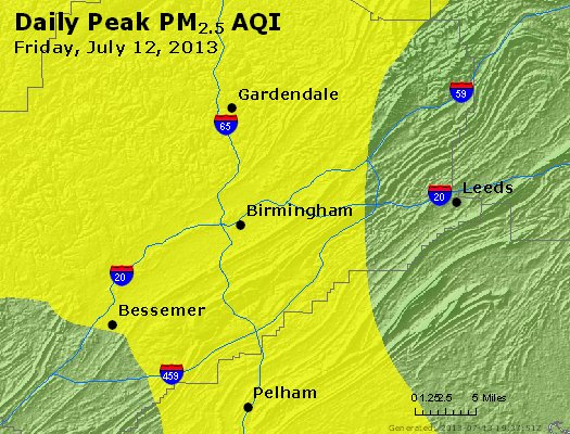 Peak Particles PM<sub>2.5</sub> (24-hour) - http://files.airnowtech.org/airnow/2013/20130712/peak_pm25_birmingham_al.jpg