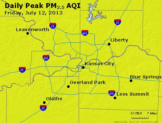 Peak Particles PM<sub>2.5</sub> (24-hour) - http://files.airnowtech.org/airnow/2013/20130712/peak_pm25_kansascity_mo.jpg
