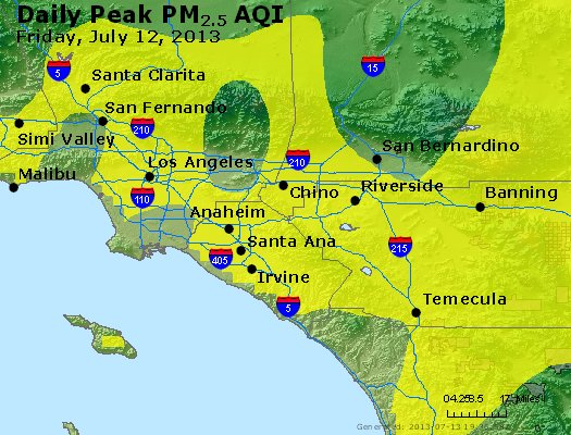 Peak Particles PM<sub>2.5</sub> (24-hour) - http://files.airnowtech.org/airnow/2013/20130712/peak_pm25_losangeles_ca.jpg