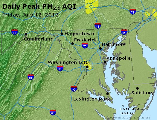 Peak Particles PM<sub>2.5</sub> (24-hour) - http://files.airnowtech.org/airnow/2013/20130712/peak_pm25_maryland.jpg