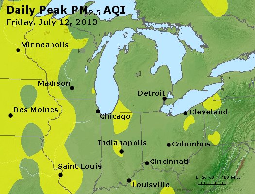 Peak Particles PM<sub>2.5</sub> (24-hour) - http://files.airnowtech.org/airnow/2013/20130712/peak_pm25_mi_in_oh.jpg