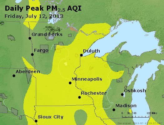 Peak Particles PM<sub>2.5</sub> (24-hour) - http://files.airnowtech.org/airnow/2013/20130712/peak_pm25_mn_wi.jpg