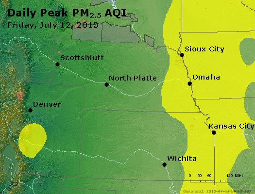 Peak Particles PM<sub>2.5</sub> (24-hour) - http://files.airnowtech.org/airnow/2013/20130712/peak_pm25_ne_ks.jpg