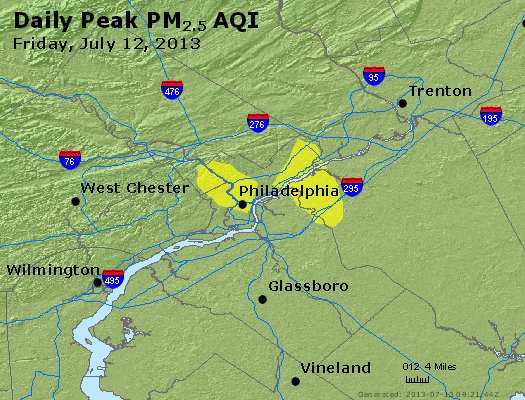 Peak Particles PM<sub>2.5</sub> (24-hour) - http://files.airnowtech.org/airnow/2013/20130712/peak_pm25_philadelphia_pa.jpg
