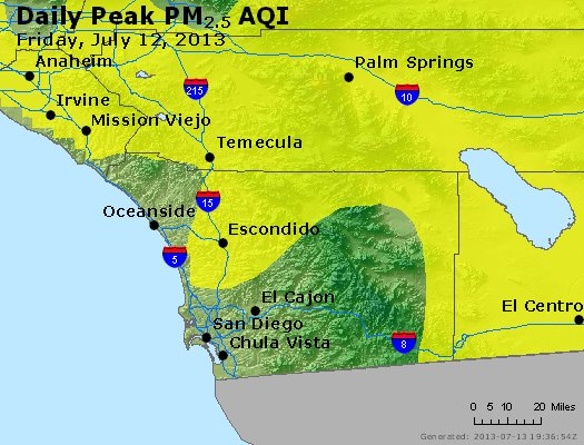 Peak Particles PM<sub>2.5</sub> (24-hour) - http://files.airnowtech.org/airnow/2013/20130712/peak_pm25_sandiego_ca.jpg