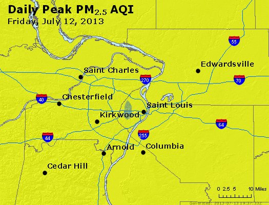 Peak Particles PM<sub>2.5</sub> (24-hour) - http://files.airnowtech.org/airnow/2013/20130712/peak_pm25_stlouis_mo.jpg