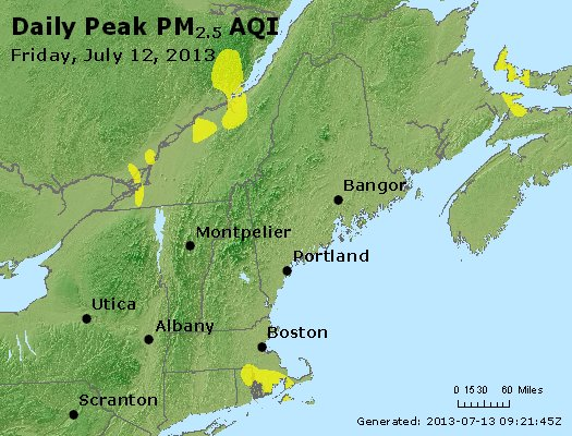 Peak Particles PM<sub>2.5</sub> (24-hour) - http://files.airnowtech.org/airnow/2013/20130712/peak_pm25_vt_nh_ma_ct_ri_me.jpg