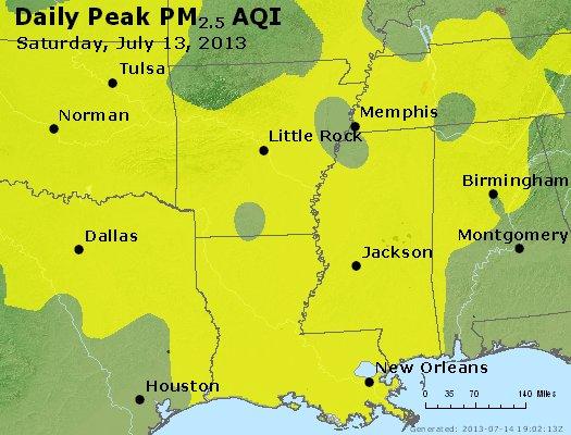 Peak Particles PM<sub>2.5</sub> (24-hour) - http://files.airnowtech.org/airnow/2013/20130713/peak_pm25_ar_la_ms.jpg