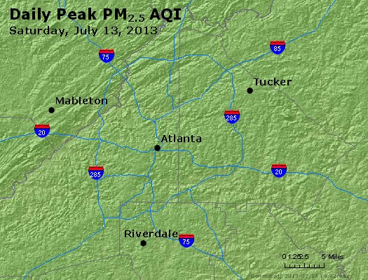 Peak Particles PM<sub>2.5</sub> (24-hour) - http://files.airnowtech.org/airnow/2013/20130713/peak_pm25_atlanta_ga.jpg