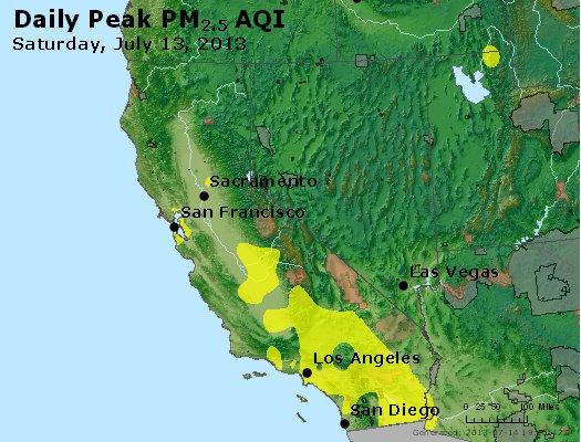 Peak Particles PM<sub>2.5</sub> (24-hour) - http://files.airnowtech.org/airnow/2013/20130713/peak_pm25_ca_nv.jpg