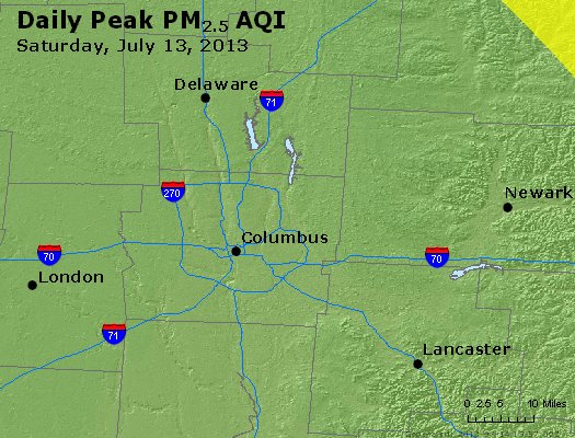 Peak Particles PM<sub>2.5</sub> (24-hour) - http://files.airnowtech.org/airnow/2013/20130713/peak_pm25_columbus_oh.jpg